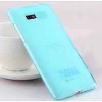 Силиконовый матовый полупрозрачный чехол для HTC Desire 600 Голубой