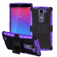 Антиударный силиконовый чехол экстрим защита с подставкой для LG Magna Фиолетовый