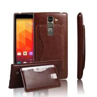 Чехол накладка с отделением для карты и кожаным покрытием для LG Magna Коричневый