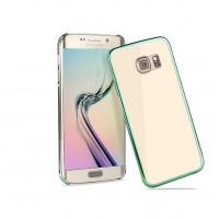 Пластиковый ультратонкий транспарентный чехол с цветным металлизированным напылением границ для Samsung Galaxy S6 Edge