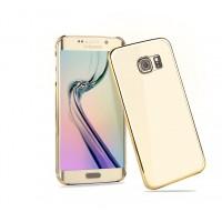 Пластиковый ультратонкий транспарентный чехол с цветным металлизированным напылением границ для Samsung Galaxy S6 Edge Бежевый