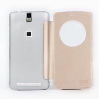 Чехол флип на пластиковой основе с круглым окном вызова для Elephone P8000 Бежевый