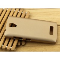 Пластиковый матовый Металлик чехол для Lenovo A2010 Бежевый