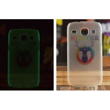 Пластиковый флуоресцентный матовый полупрозрачный чехол с принтом для Samsung Galaxy Core