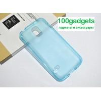 Силиконовый полупрозрачный чехол для Samsung Galaxy S5 Mini Голубой