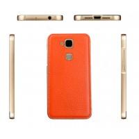 Двухкомпонентный чехол с металлическим бампером и кожаной накладкой (нат. кожа) для Huawei G8 Оранжевый