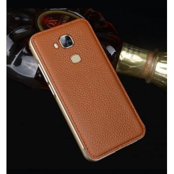 Двухкомпонентный чехол с металлическим бампером и кожаной накладкой (нат. кожа) для Huawei G8