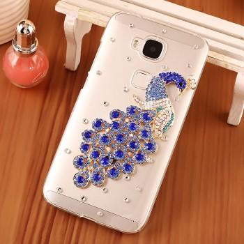 Дизайнерский пластиковый чехол с аппликацией стразами и бижутерией ручной работы для Huawei G8