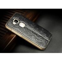 Тонкий кожаный смартчехол горизонтальная книжка (нат. кожа крокодила) подставка с окном вызова для Huawei G8 Черный