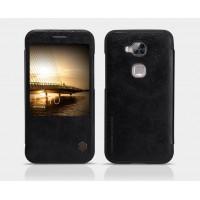 Кожаный чехол флип с окном вызова для Huawei G8 Черный