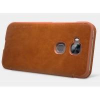 Кожаный чехол флип с окном вызова для Huawei G8 Коричневый