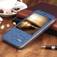 Текстурный чехол флип подставка на силиконовой основе с окном вызова для Huawei G8 Синий
