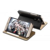 Кожаный чехол флип подставка на пластиковой основе с окном вызова для Huawei G8 Черный