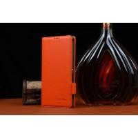 Кожаный чехол портмоне (нат. кожа) для Sony Xperia C4 Оранжевый