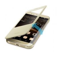 Оригинальный кожаный чехол смарт флип на пластиковой основе с окном вызова для Huawei G8 Бежевый