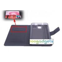 Глянцевый чехол портмоне подставка на силиконовой основе с магнитной застежкой и отделением для карт для Lenovo S580 Ideaphone Черный