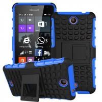 Антиударный силиконовый чехол экстрим защита с подставкой для Microsoft Lumia 430 Dual SIM Голубой