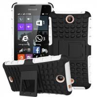 Антиударный силиконовый чехол экстрим защита с подставкой для Microsoft Lumia 430 Dual SIM Белый