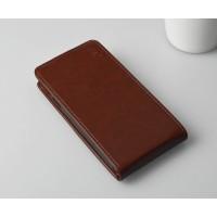Глянцевый чехол вертикальная книжка на пластиковой основе с магнитной застежкой для Microsoft Lumia 430 Dual SIM Коричневый