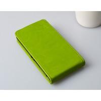 Глянцевый чехол вертикальная книжка на пластиковой основе с магнитной застежкой для Microsoft Lumia 430 Dual SIM Зеленый