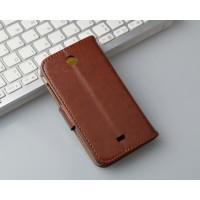 Глянцевый чехол портмоне подставка с защелкой на пластиковой основе для Microsoft Lumia 430 Dual SIM Коричневый