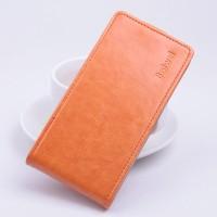 Глянцевый чехол вертикальная книжка на силиконовой основе с магнитной застежкой для Microsoft Lumia 532 Оранжевый