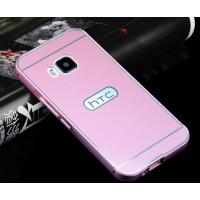 Двухкомпонентный чехол с металлическим бампером и поликарбонатной накладкой для HTC One M9 Розовый