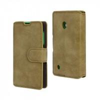 Винтажный чехол портмоне подставка с защелкой для Nokia Lumia 530 Зеленый