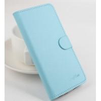 Чехол портмоне подставка на клеевой основе с магнитной застежкой для Doogee X5 Голубой