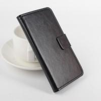 Глянцевый чехол портмоне подставка на клеевой основе с магнитной застежкой для Doogee X5 Черный