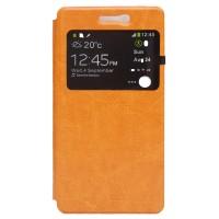 Чехол флип подставка на силиконовой основе с окном вызова для Doogee X5 Оранжевый