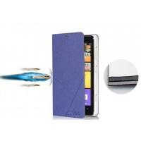 Текстурный чехол флип подставка на пластиковой основе с внутренним карманом для Nokia Lumia 625 Синий