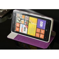 Текстурный чехол флип подставка на пластиковой основе с внутренним карманом для Nokia Lumia 625 Фиолетовый