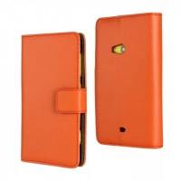 Чехол портмоне подставка на пластиковой основе с магнитной застежкой для Nokia Lumia 625 Оранжевый