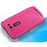 Чехол флип подставка на пластиковой матовой нескользящей премиум основе с круглым окном вызова для ASUS Zenfone 2 Laser 5 ZE500KL Пурпурный