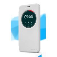 Чехол флип подставка на пластиковой матовой нескользящей премиум основе с круглым окном вызова для ASUS Zenfone 2 Laser 5 ZE500KL Белый