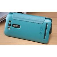 Чехол флип подставка на пластиковой матовой нескользящей премиум основе с круглым окном вызова для ASUS Zenfone 2 Laser 5 ZE500KL Голубой