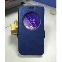 Текстурный чехол флип подставка с круглым окном вызова и магнитной застежкой для ASUS Zenfone Go Синий
