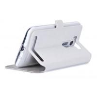 Чехол текстурный флип подставка на силиконовой основе с круглым окном вызова для ASUS Zenfone 2 Laser 5 ZE500KL Белый