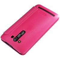 Чехол флип подставка на пластиковой матовой нескольязщей премиум основе с круглым окном вызова для ASUS Zenfone 2 Laser 5.5 ZE550KL Пурпурный