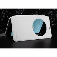 Чехол флип подставка на пластиковой матовой нескольязщей премиум основе с круглым окном вызова для ASUS Zenfone 2 Laser 5.5 ZE550KL Белый