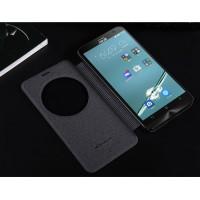 Чехол флип подставка на пластиковой матовой нескольязщей премиум основе с круглым окном вызова для ASUS Zenfone 2 Laser 5.5 ZE550KL Черный