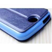 Чехол флип подставка с окном вызова на силиконовой основе для Acer Liquid Z530 Синий