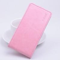 Глянцевый чехол вертикальная книжка на силиконовой основе с магнитной застежкой для Xiaomi RedMi Note 2 Розовый