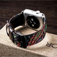 Гибридный дизайнерский ремешок нат. кожа/ткань ручной работы с металлическим коннектором для Apple Watch 38мм
