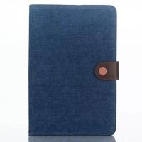 Тканевый чехол подставка с внутренними отсеками и защелкой серия Джинс для Ipad Mini 4 Голубой