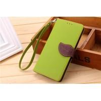 Текстурный чехол портмоне на силиконовой основе с дизайнерской застежкой для Xiaomi RedMi Note 2 Зеленый