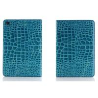 Чехол подставка с внутренними отсеками серия Croco Pattern для Ipad Mini 4 Голубой