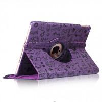 Текстурный чехол подставка роторный для Ipad Mini 4 Фиолетовый