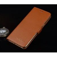 Кожаный чехол портмоне подставка (нат. кожа) для Lenovo Phab Plus Бежевый
